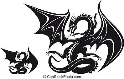 Fantasy dragon - Isolated fantasy black dragon for tattoo...