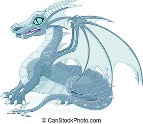 Fantasy Dragon - Vector illustration of a fantasy ice dragon
