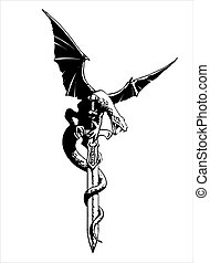 Fantasy Dragon with wings spread on a sword