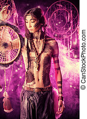 fantasy dream - Portrait of the American Indian. Ethnicity...