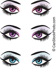 Fantasy eyes makeup - Illustration of woman eyes with makeup...