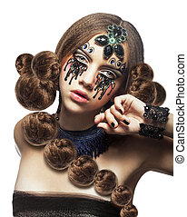Fantasy. Fancy Woman with Creative Makeup and Tears