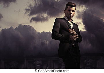 Fantasy fashion style photo of a handsome man