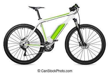 fantasy fictitious design of an ebike pedelec with battery powered motor bicycle moutainbike. mountain bike ecology modern transport concept isolated white background