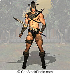 Fantasy Fighter - Image contains a clipping path