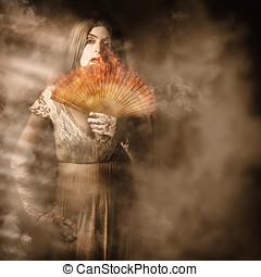 Fantasy fine art portrait. Elegant vampire woman