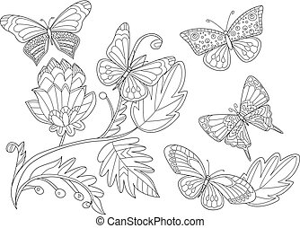 fantasy floral pattern with butterflies for your coloring book