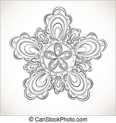 Fantasy flower, black and white lace pattern