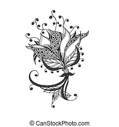 Fantasy flower, black and white tattoo pattern.