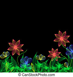 Fantasy flowers - Bright blend flowers on black background