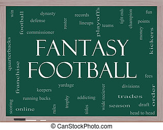Fantasy Football Word Cloud Concept on a Blackboard