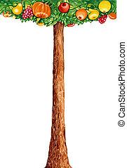 fantasy fruit tree - illustration of fantasy tree with...
