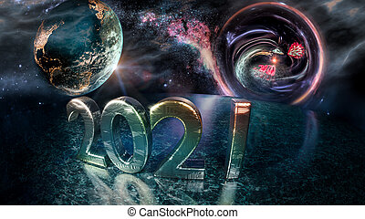 Fantasy futuristic scene of 2021 number on the artificial planet and blue planet earth with sunrise. Blackhole in the background suck in the old year 2020 and coronavirus. New year, concept form hope and technology (science).