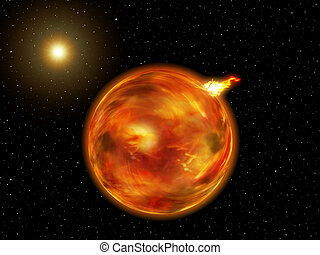 Fantasy Galaxy Planet of Fire - View of a planet of fire in...
