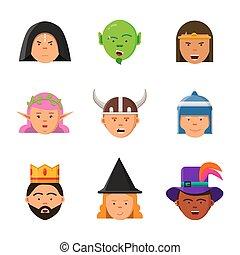 Fantasy game avatars. Fairy tale characters elf wizard king warrior goblin princess vector portraits