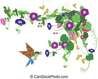Fantasy garden background-Morning glory and bird