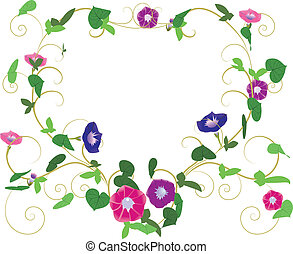 Fantasy garden background-Morning glory surrounded heart
