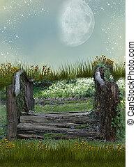Fantasy garden - Fantasy bridge in garden with flowers and ...