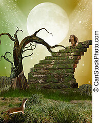 fantasy garden with tree  stairway and rabbit