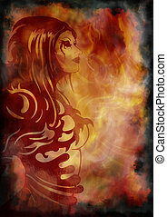 Fantasy girl on the background with fire and smoke