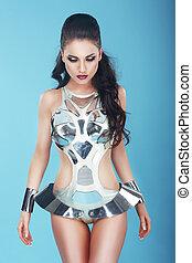 fantasy., glam., extravagant, frau, in, stagy, kunst, kostüm