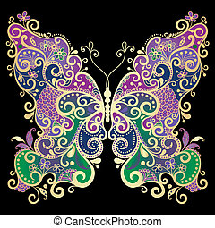 Decorative fantasy gold and colorful vintage butterfly on black(vector)