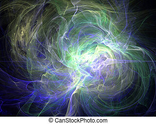 Fantasy green white chaos abstract fractal effect light background