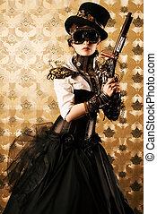 fantasy gun - Portrait of a beautiful steampunk woman...