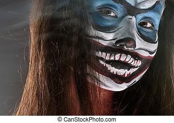 Fantasy hallowen make up. Close up shot of Fairy face art