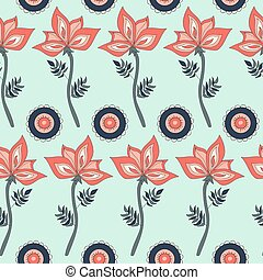 Fantasy hand-drawn floral seamless pattern.