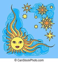 Fantasy hand drawn sun over white. Vector illustration