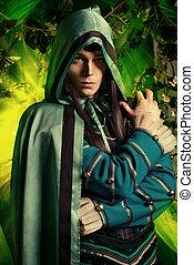 fantasy hero - Noble fairy elf in the magic forest. Fantasy...