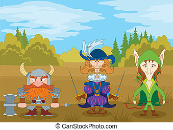 Fantasy brave heroes: elf archer, count fencer and dwarf warrior standing in forest, funny comic cartoon characters. Vector