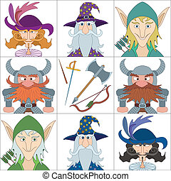 Fantasy heroes, set avatars - Avatar faces of fantasy brave...