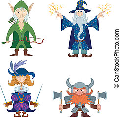 Fantasy brave heroes: elf archer, dwarf warrior, cavalier fencer and mighty wizard, funny comic cartoon characters set. Vector