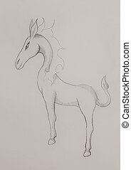 fantasy horse creature, pencil drawing on abstract background