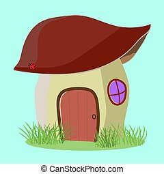 Fantasy house for fairy-tale characters in the style cartoons, vector illustration