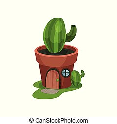 Fantasy house in form of green cactus in pot. Home with...