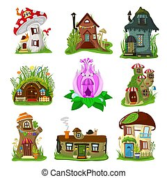 Fantasy house vector cartoon fairy treehouse and magic ...