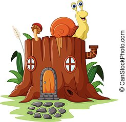 Fantasy house with snail - Vector illustration of Fantasy...