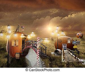Fantasy houses - Pumpkin houses in the fantasy village