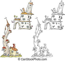 Fantasy houses vector illustration