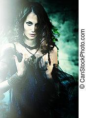 fantasy in garden - fantasy woman in garden with black veil...
