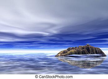 fantasy island - island in a glowy ocean