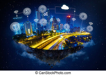 Fantasy island floating in the air with smart city