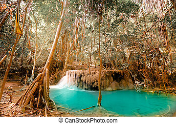 Fantasy jangle landscape with turquoise pond water