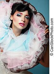 fantasy., jonge vrouw , met, kleurrijke, frilled, satiny, kraag
