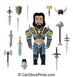 Fantasy Knight Character with Weapons Vector. - Fantasy...