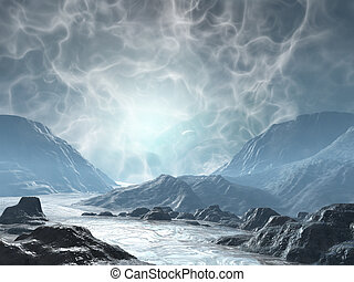 Fantasy land - 3D rendered fantasy landscape with lightning...