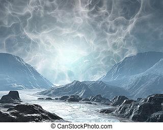 Fantasy land - 3D rendered fantasy landscape with lightning ...